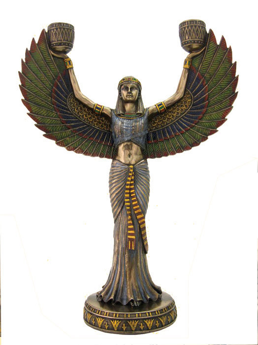 Isis candelabra egyptian pagan goddess statue candle holder candlestick 13 ebay - God and goddess statues ...