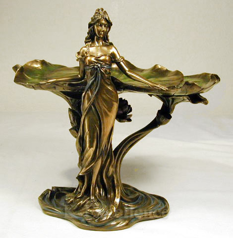 Art nouveau lady lotus statue jewelry dish soap business card holder tray bro - Statuette art deco femme ...